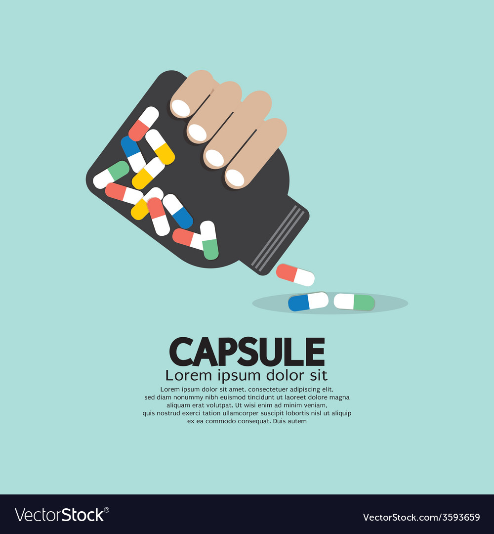 Medicine capsules bottle in hand vector | Price: 1 Credit (USD $1)