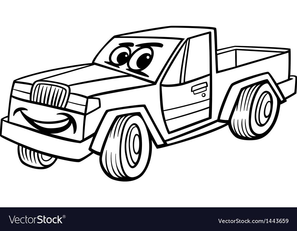 Pickup car cartoon coloring page vector | Price: 1 Credit (USD $1)