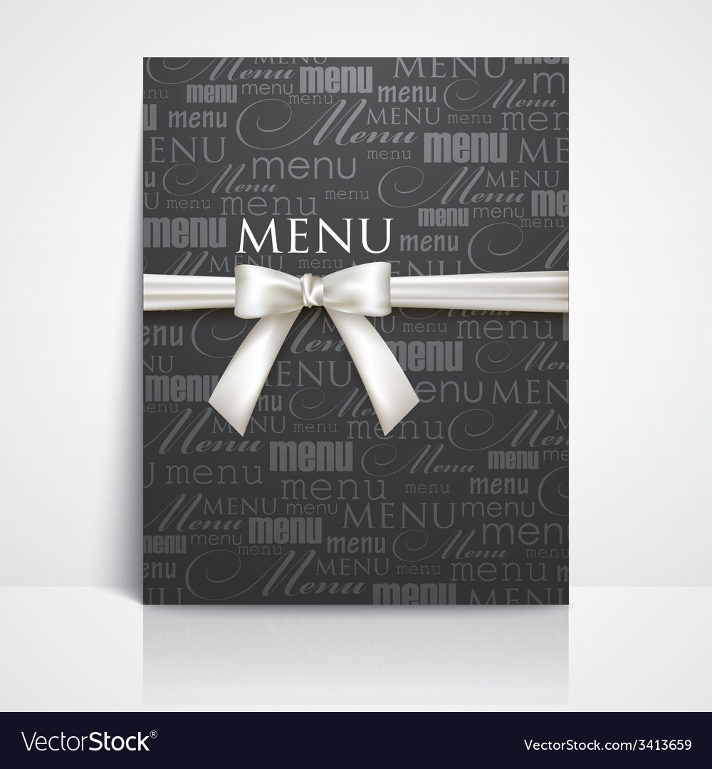 Restaurant menu design with white bow and ribbon vector | Price: 1 Credit (USD $1)