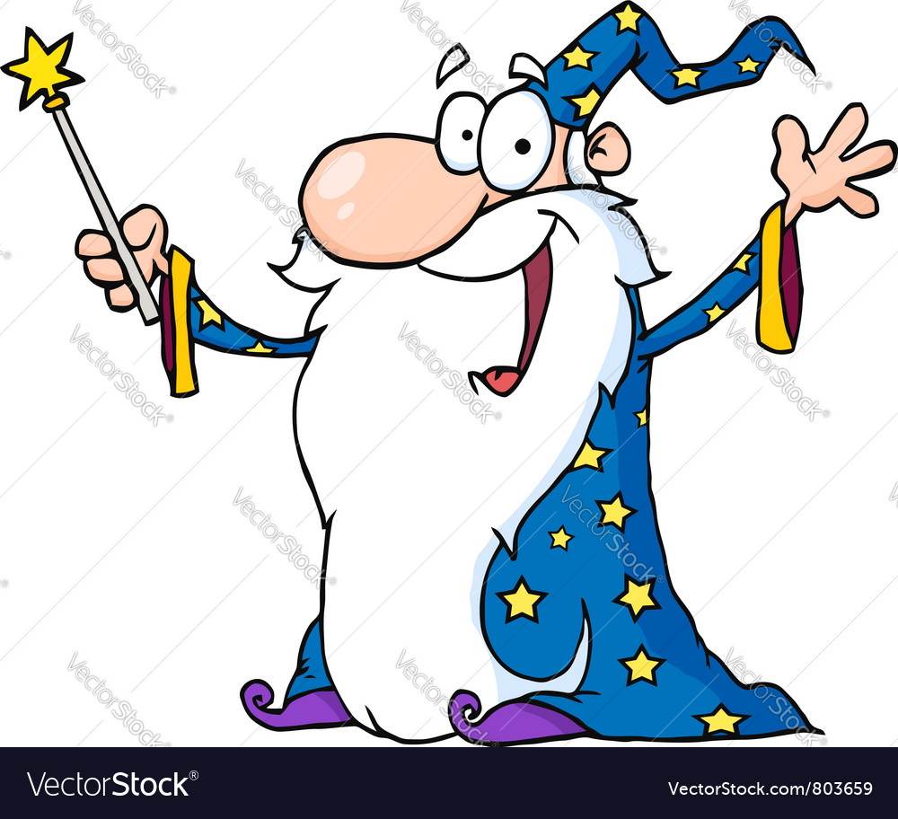 Wizard in a star robe holding up his wand vector | Price: 1 Credit (USD $1)