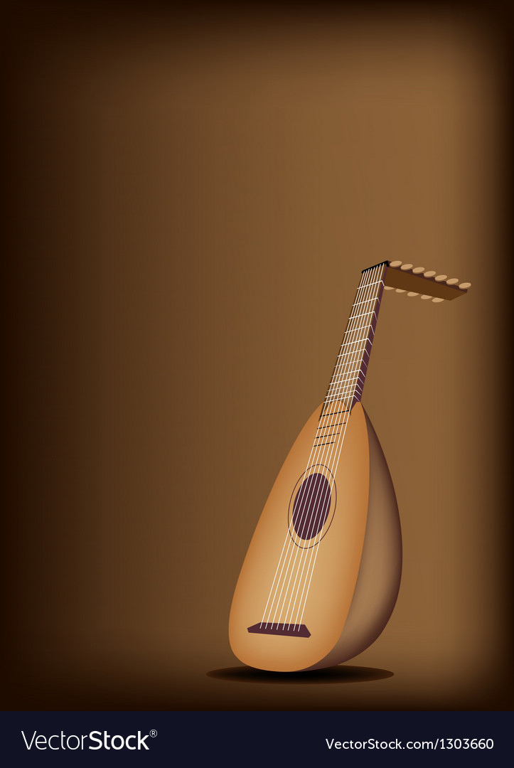A beautiful antique lute on dark brown background vector