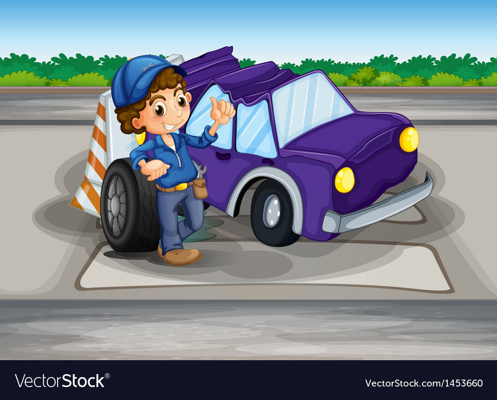 A pedestrian lane with a broken car and a young vector | Price: 1 Credit (USD $1)