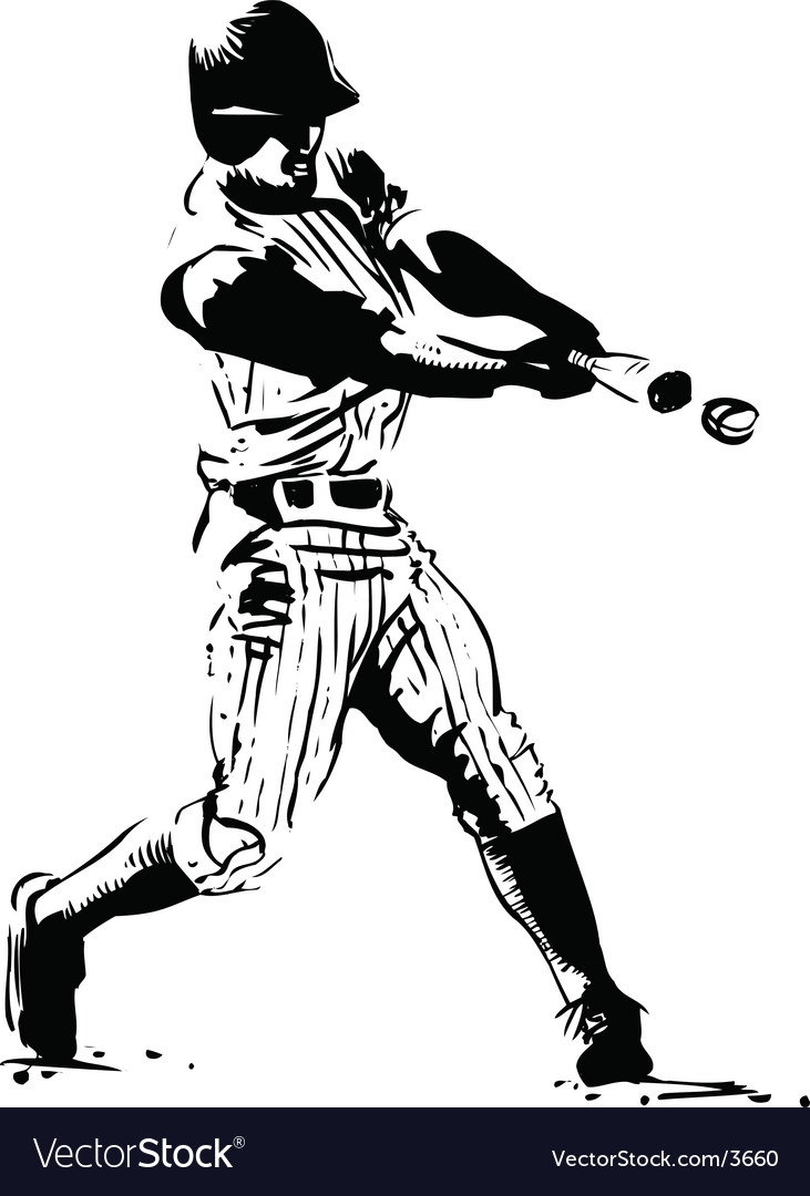 Baseball hitter vector | Price: 1 Credit (USD $1)