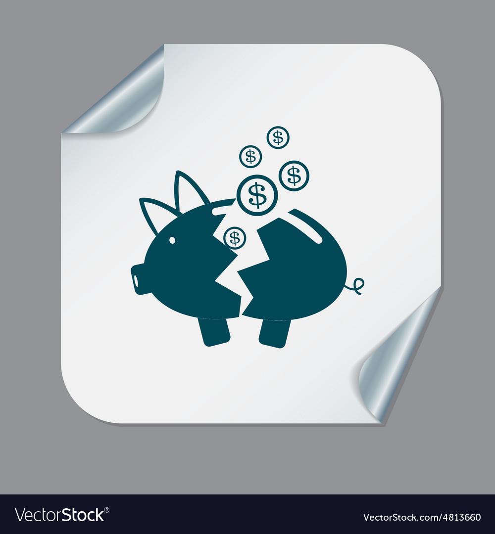 Broken piggy bank icon vector