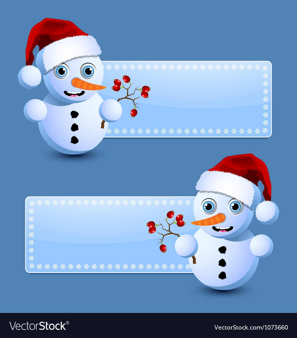 Cute little snowman banners vector | Price: 3 Credit (USD $3)
