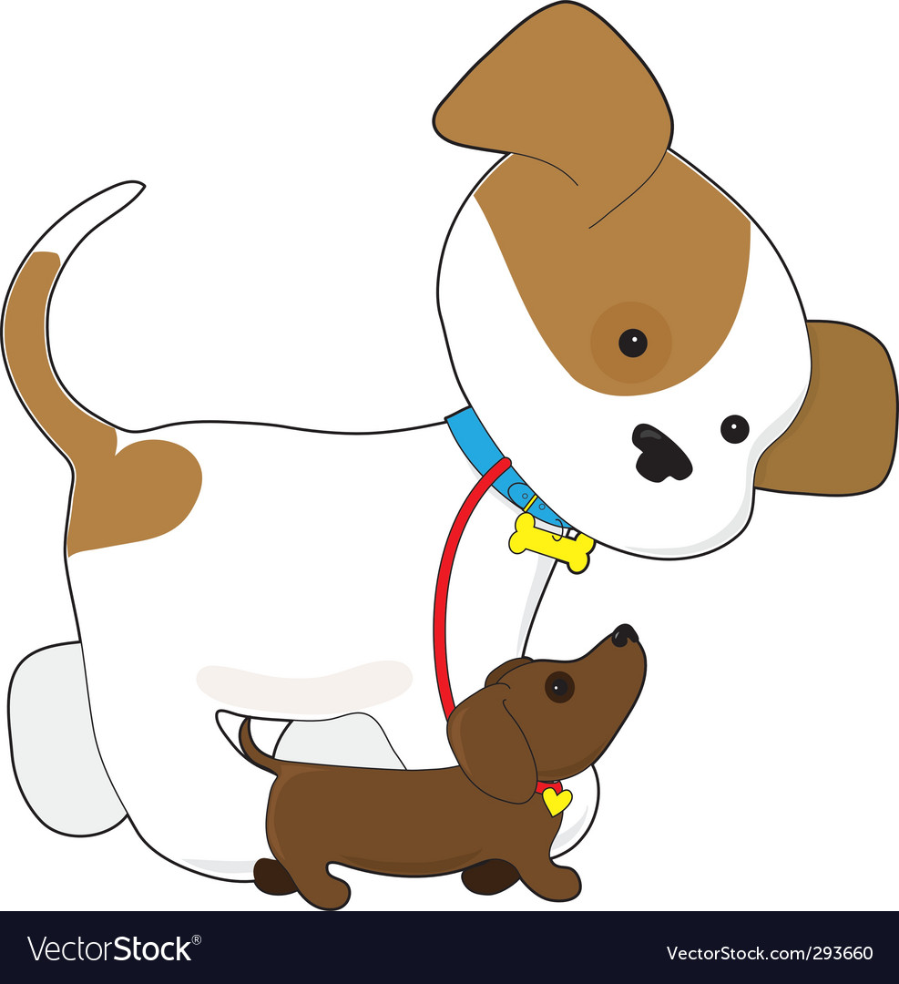 Cute puppy walking a pup vector | Price: 1 Credit (USD $1)