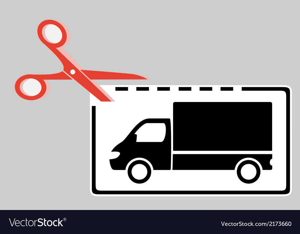 Delivery coupon with scissors and truck vector | Price: 1 Credit (USD $1)