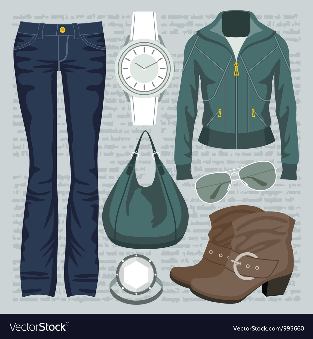 Fashion set with jeans and a jacket vector | Price: 1 Credit (USD $1)
