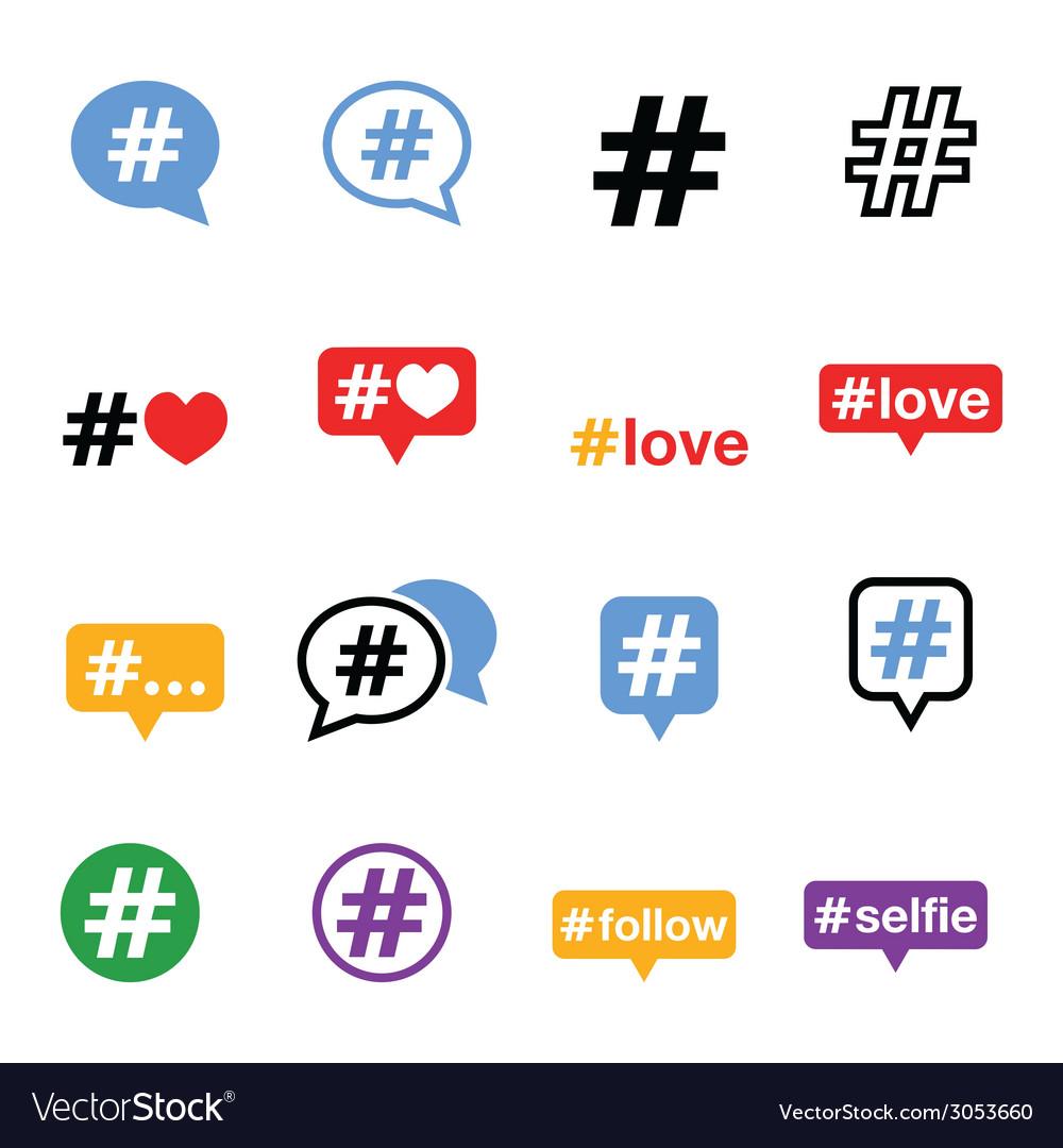 Hashtag social media icons set vector