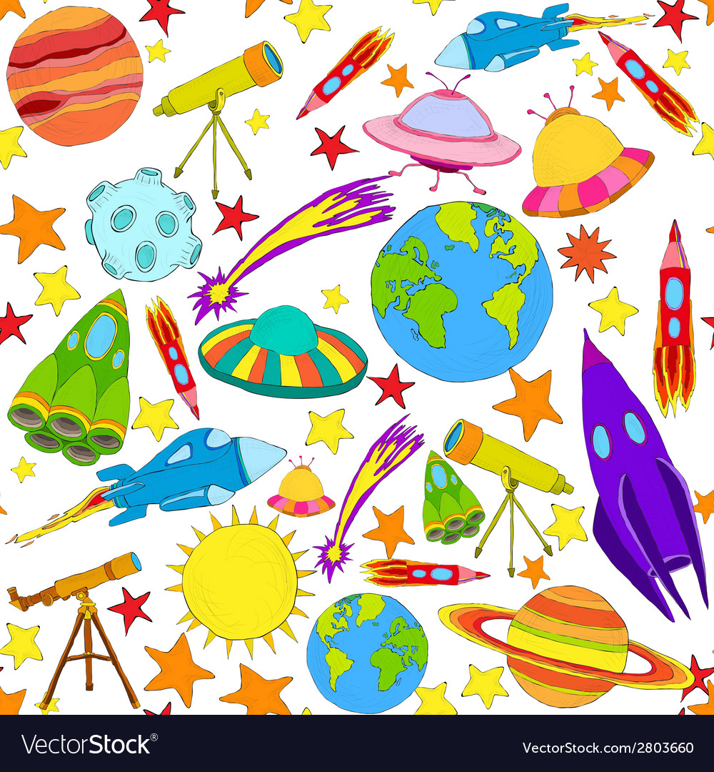Space colored seamless pattern vector | Price: 1 Credit (USD $1)