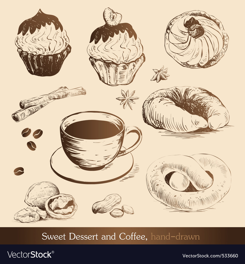 Sweet dessert and coffee vector | Price: 1 Credit (USD $1)