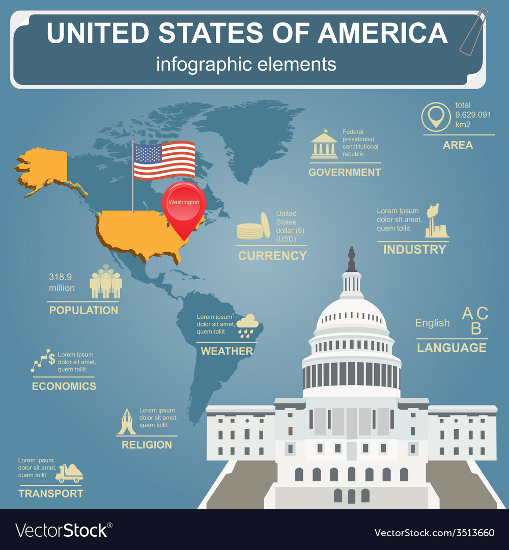 United states of america infographics statistical vector | Price: 1 Credit (USD $1)