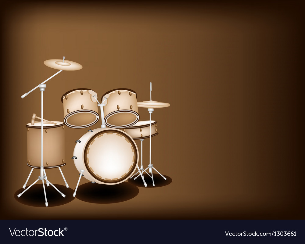 A beautiful drum kit on dark brown background vector | Price: 1 Credit (USD $1)
