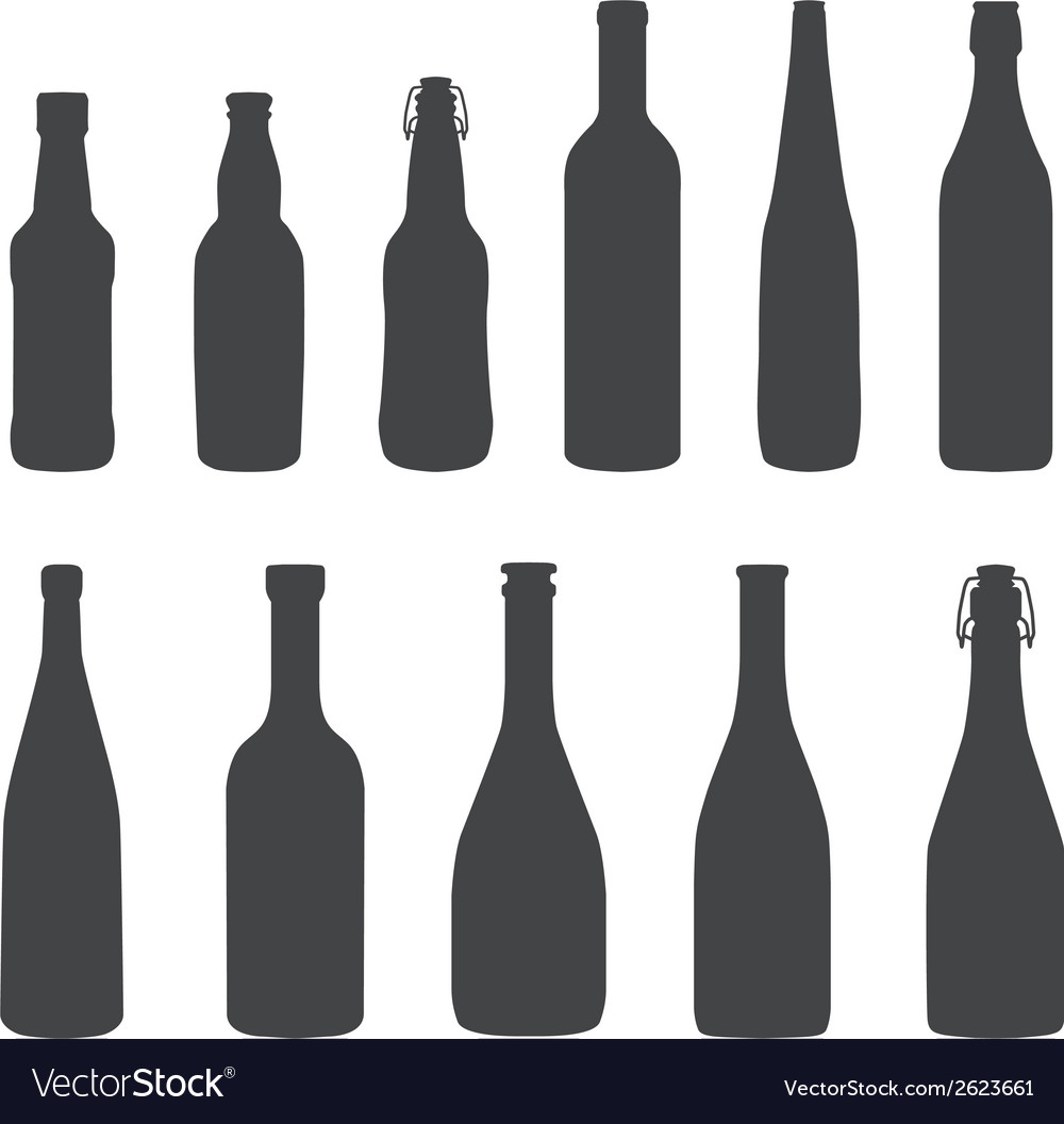 Alcohol bottles silhouette set vector | Price: 1 Credit (USD $1)