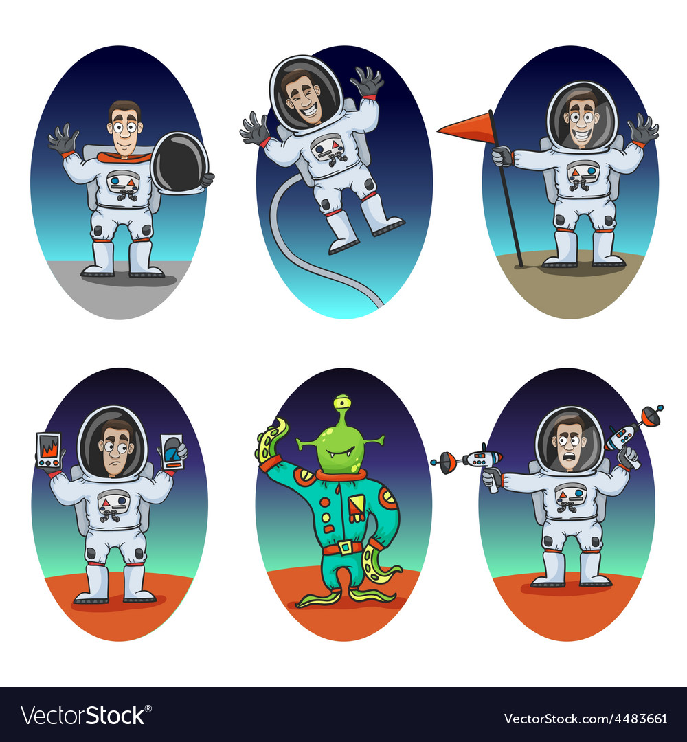 Astronaut emotions set vector | Price: 1 Credit (USD $1)