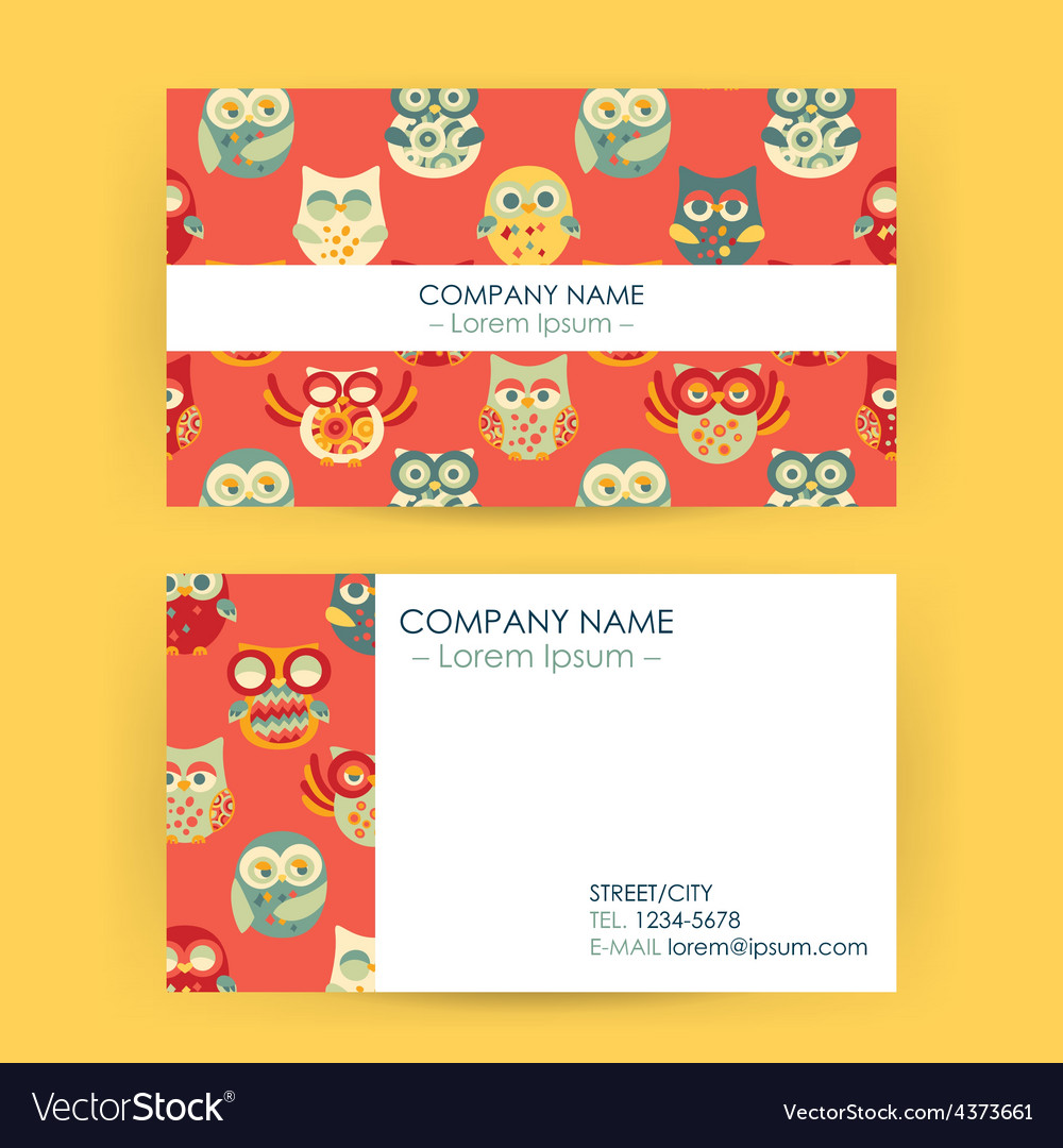 Business card with owls vector | Price: 1 Credit (USD $1)