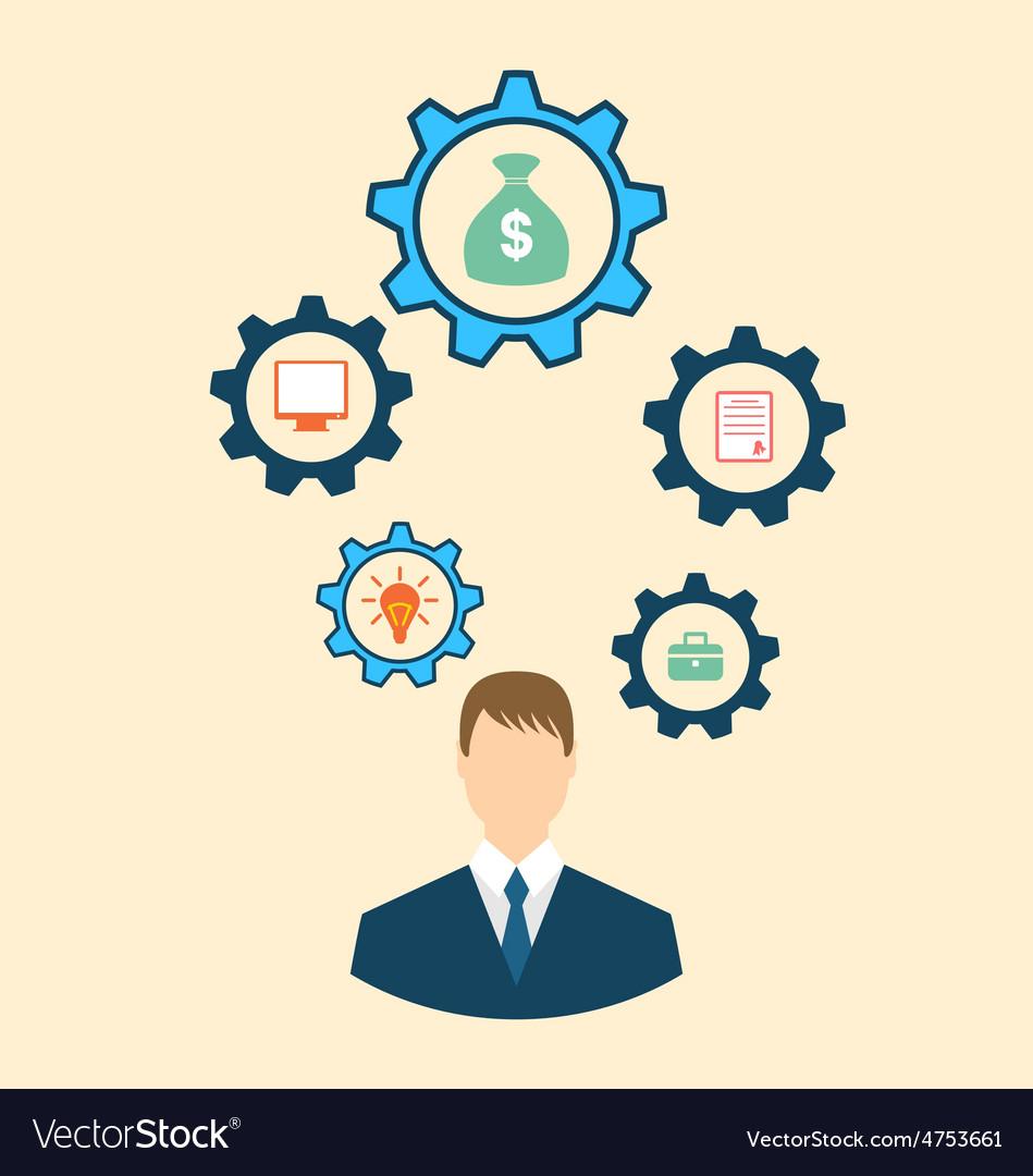 Businessman head with cogwheels vector | Price: 1 Credit (USD $1)