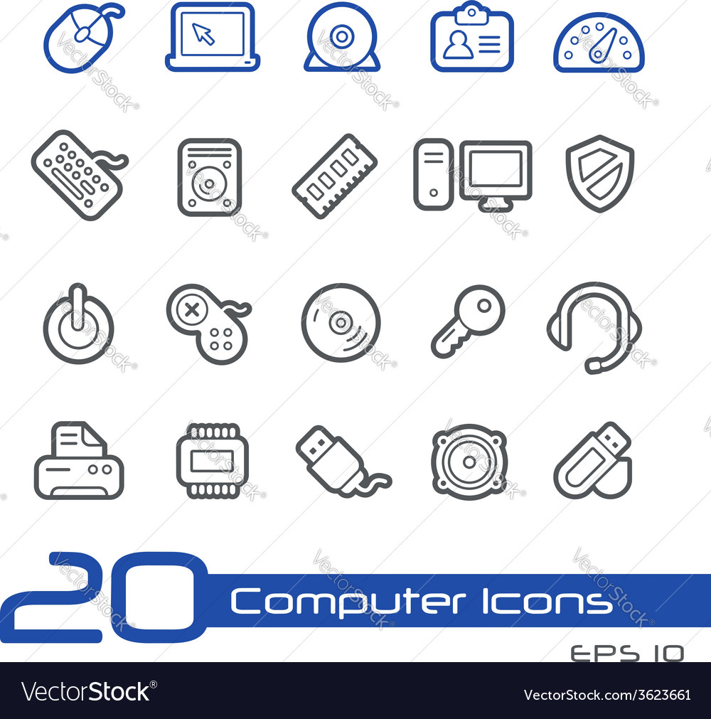 Computer devices outline series vector | Price: 1 Credit (USD $1)