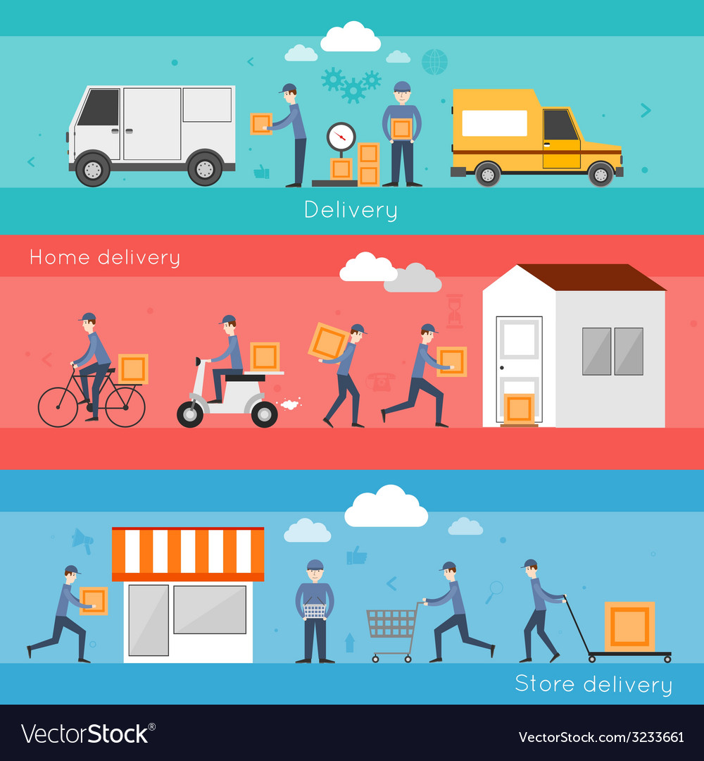 Delivery banner set vector | Price: 1 Credit (USD $1)
