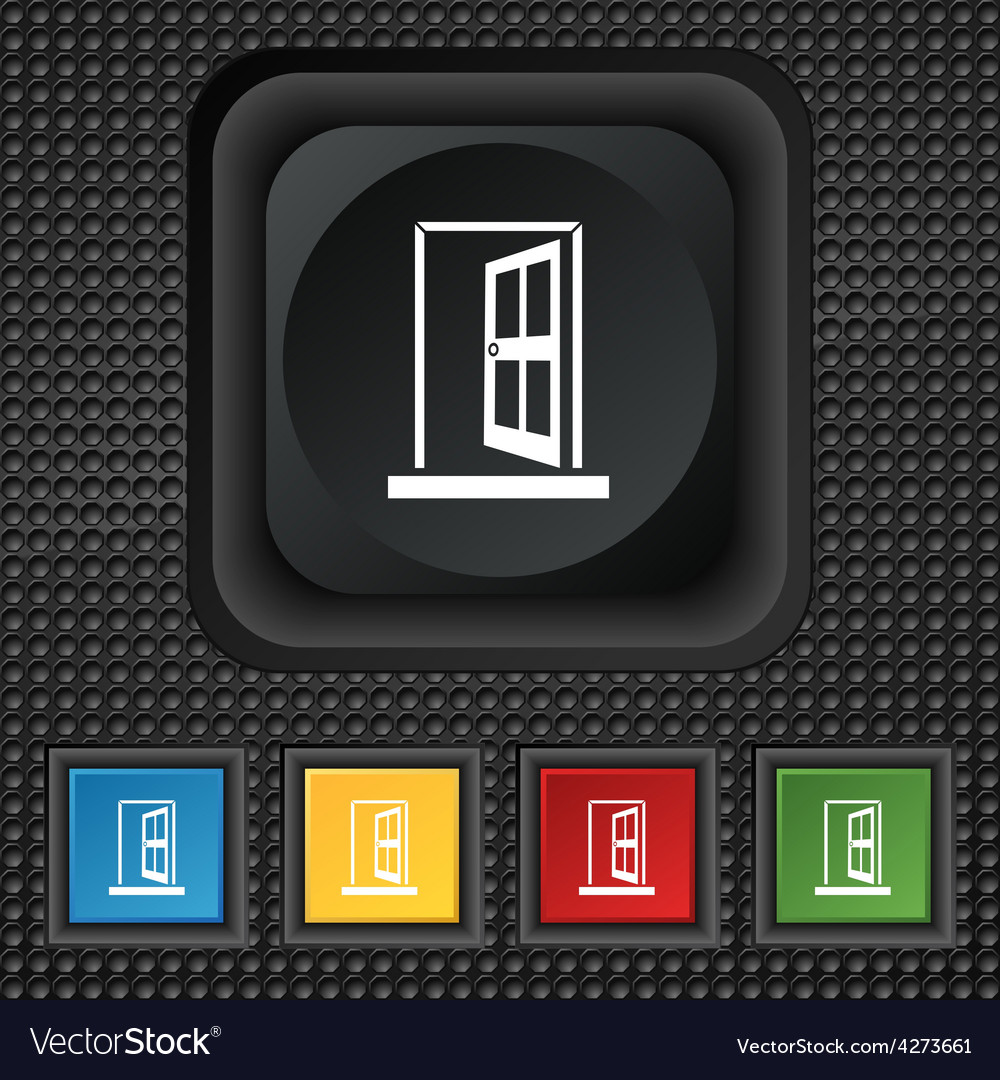 Door enter or exit icon sign symbol squared vector | Price: 1 Credit (USD $1)