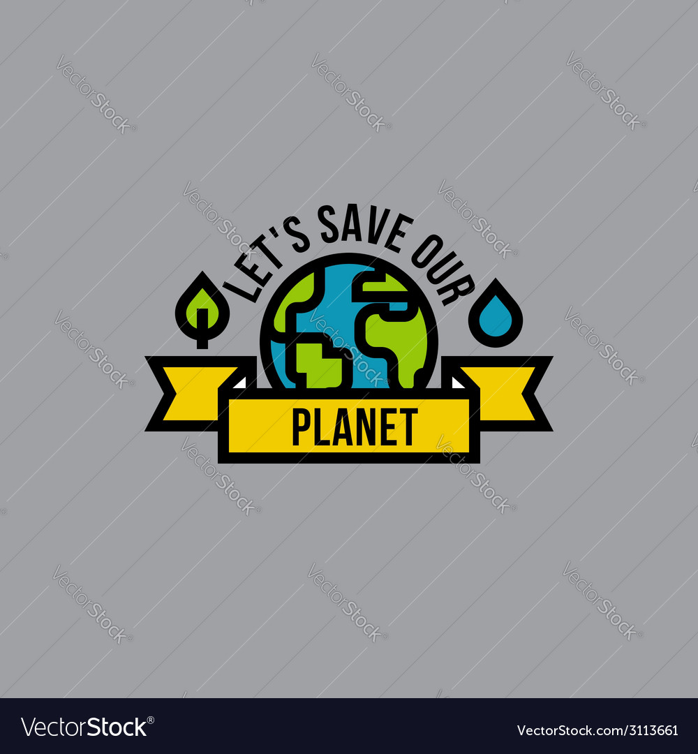 Environment day green concept with globe vector | Price: 1 Credit (USD $1)