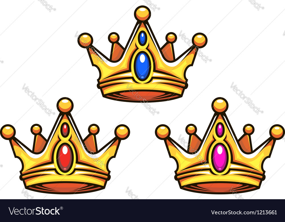 Golden royal crowns with jewelry elements vector | Price: 1 Credit (USD $1)