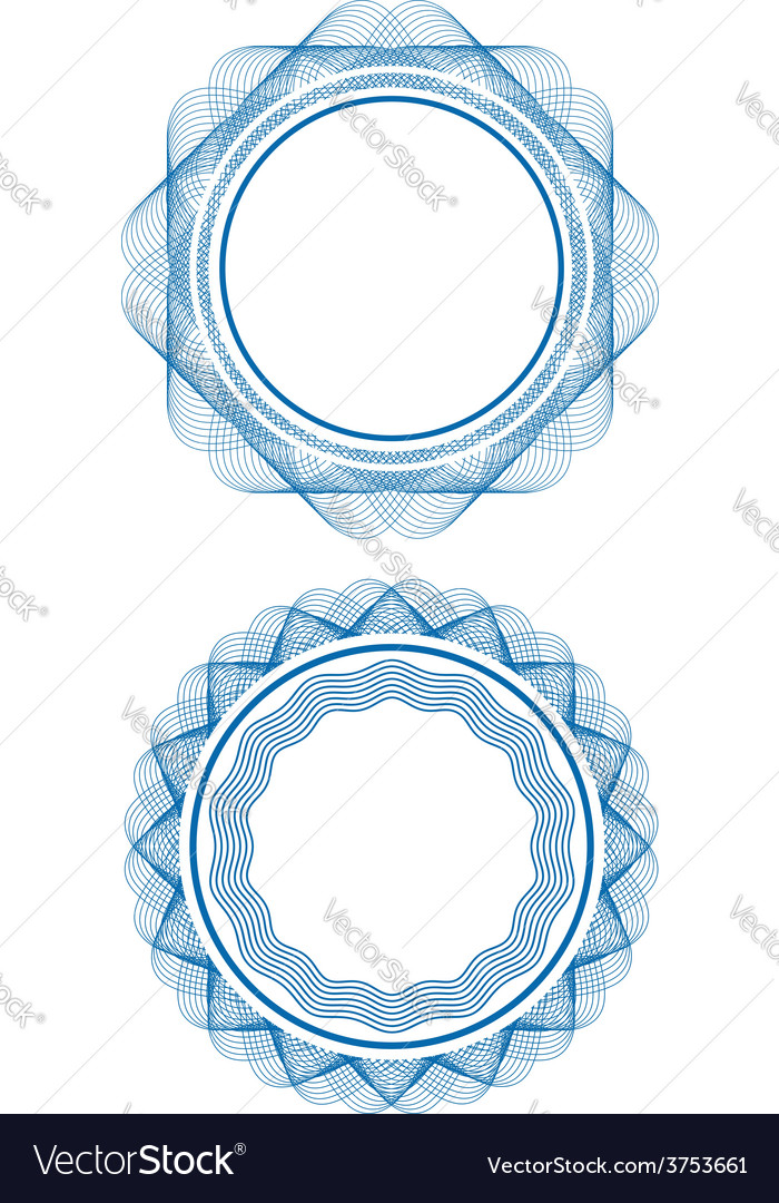 Guilloche stamp set vector