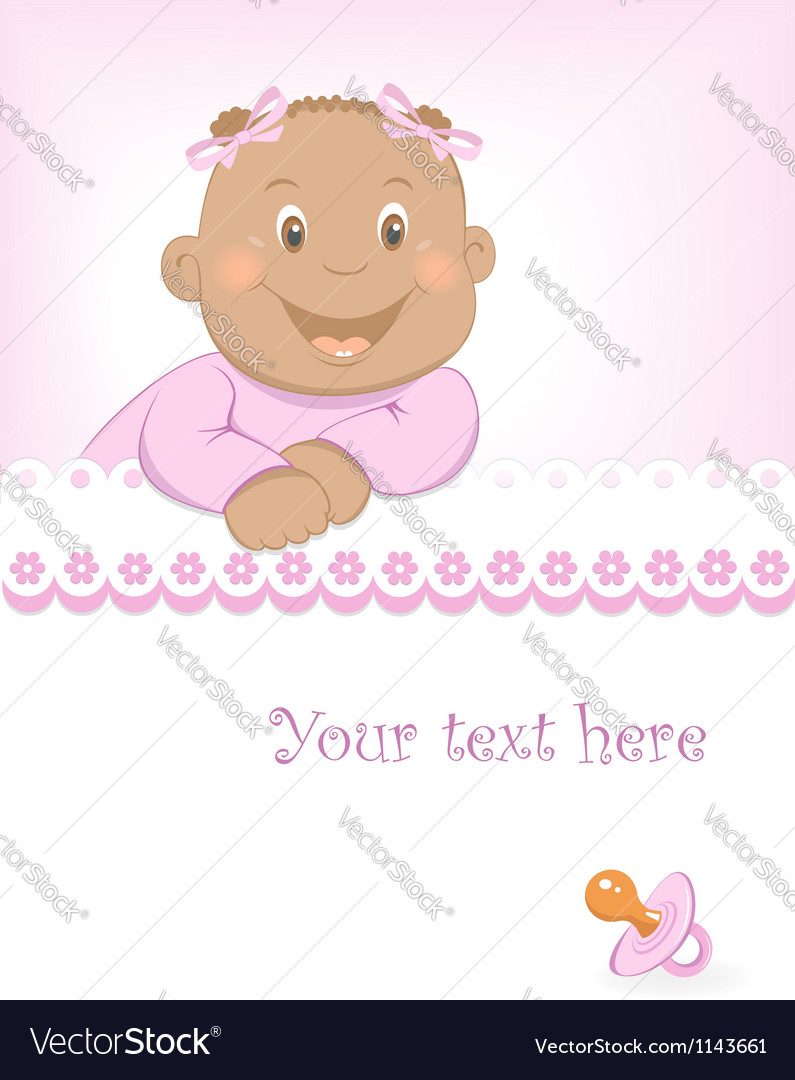 Happy african baby girl arrival announcement vector | Price:  Credit (USD $)