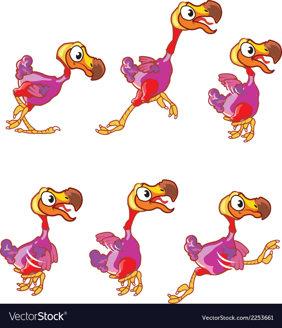 Jumping dodo animation sprite vector | Price: 1 Credit (USD $1)
