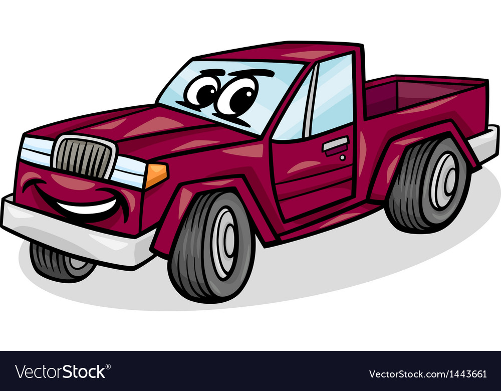 Pickup car character cartoon vector | Price: 1 Credit (USD $1)