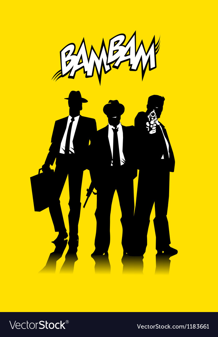 Three men in black vector | Price: 1 Credit (USD $1)