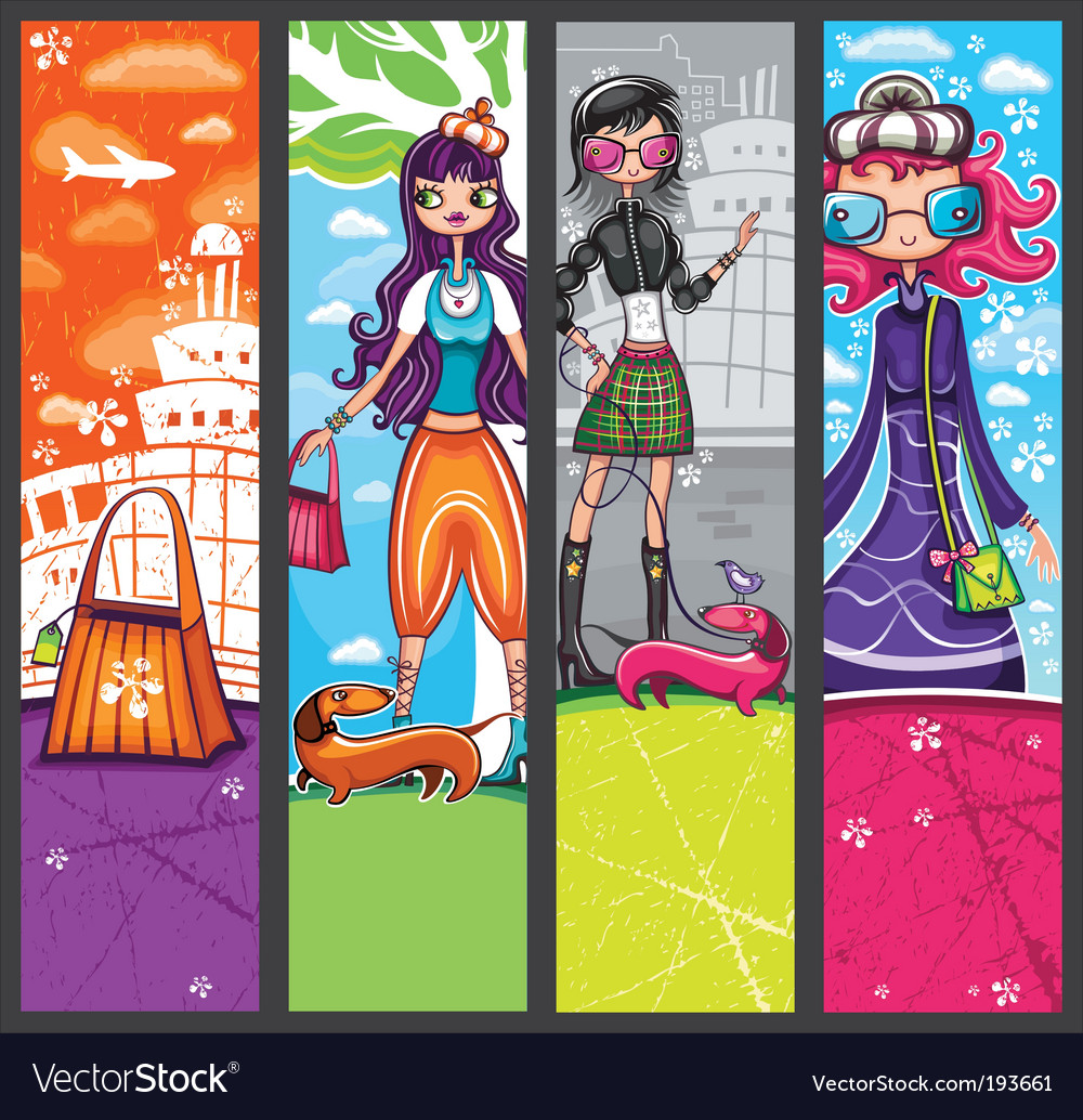 Urban shopping girls banners vector | Price: 3 Credit (USD $3)