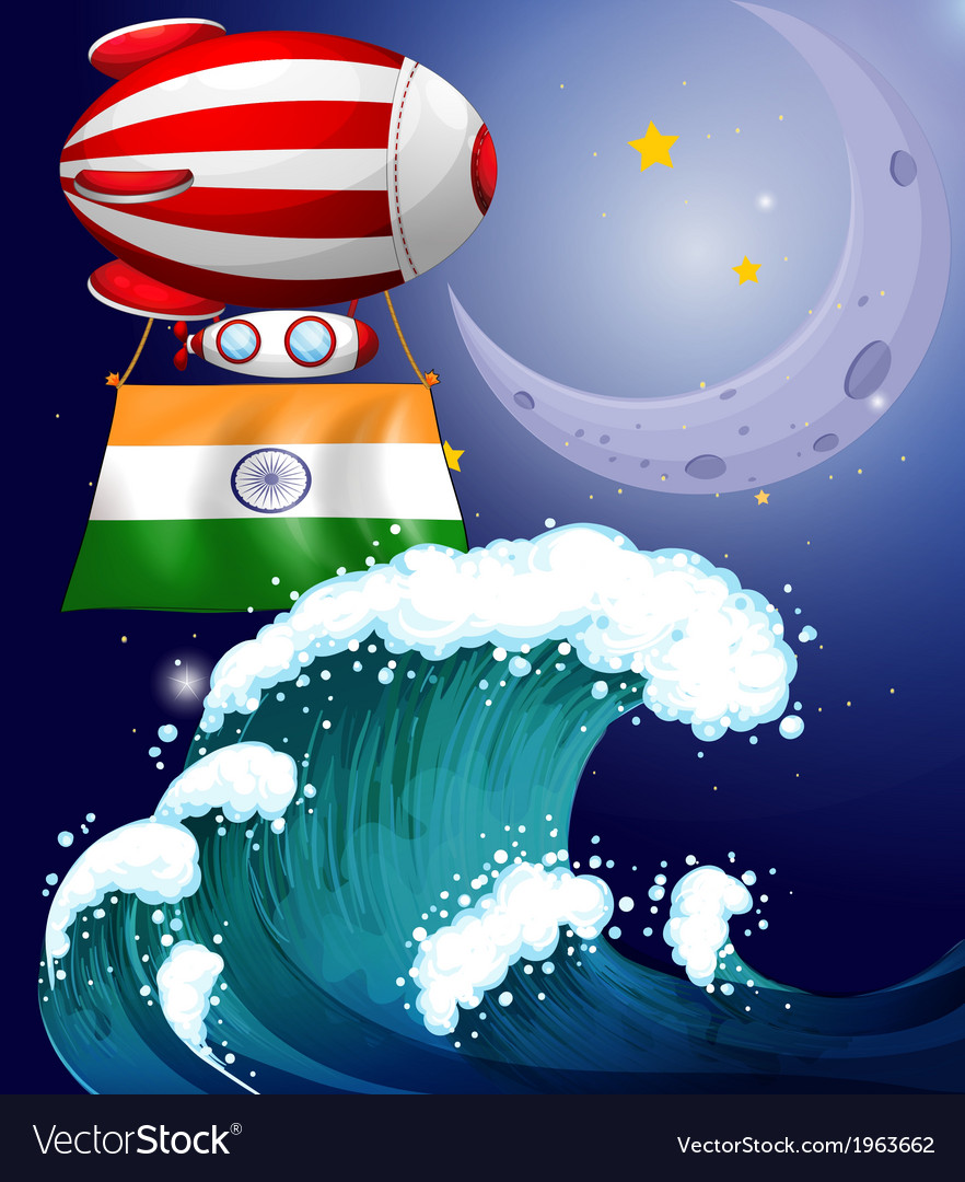 A balloon with the flag of india above the giant vector | Price: 3 Credit (USD $3)