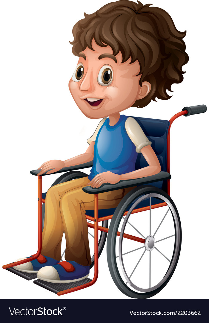 A young boy riding on a wheelchair vector | Price: 1 Credit (USD $1)