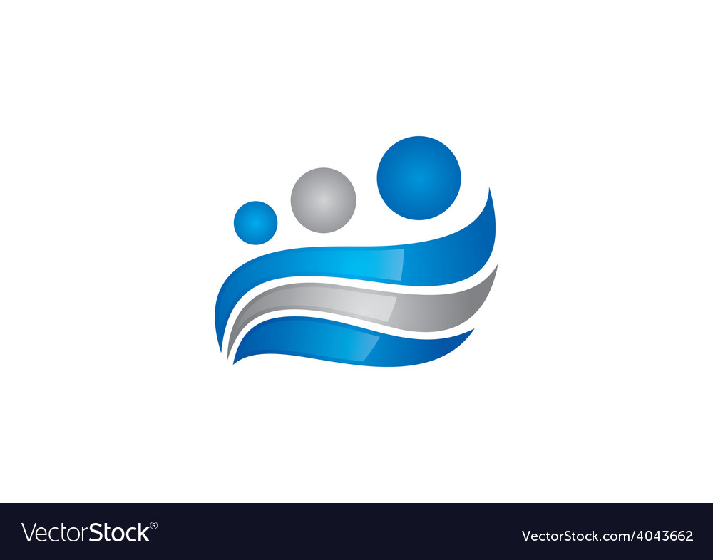 Abstract business family wave design logo vector