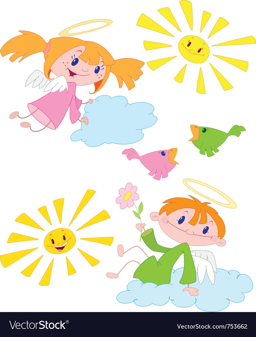 Angels and birds vector