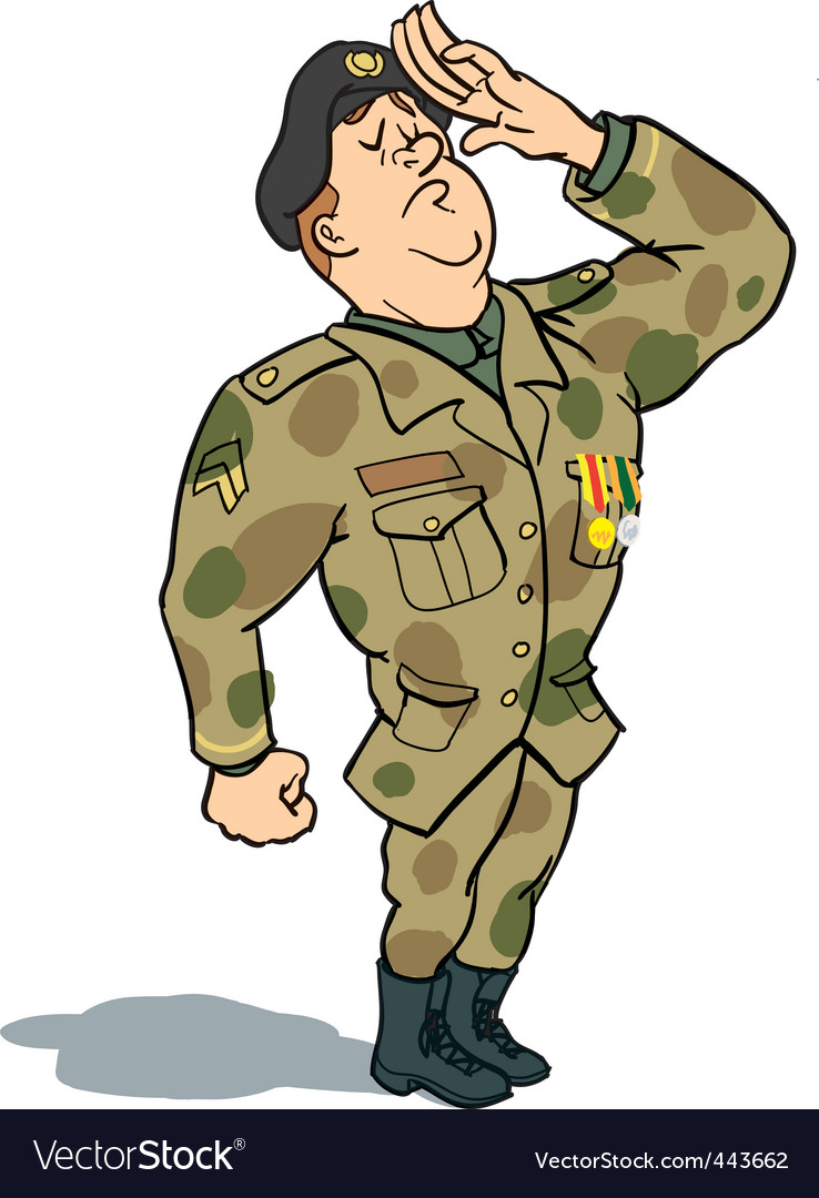 Army soldier saluting vector | Price: 3 Credit (USD $3)