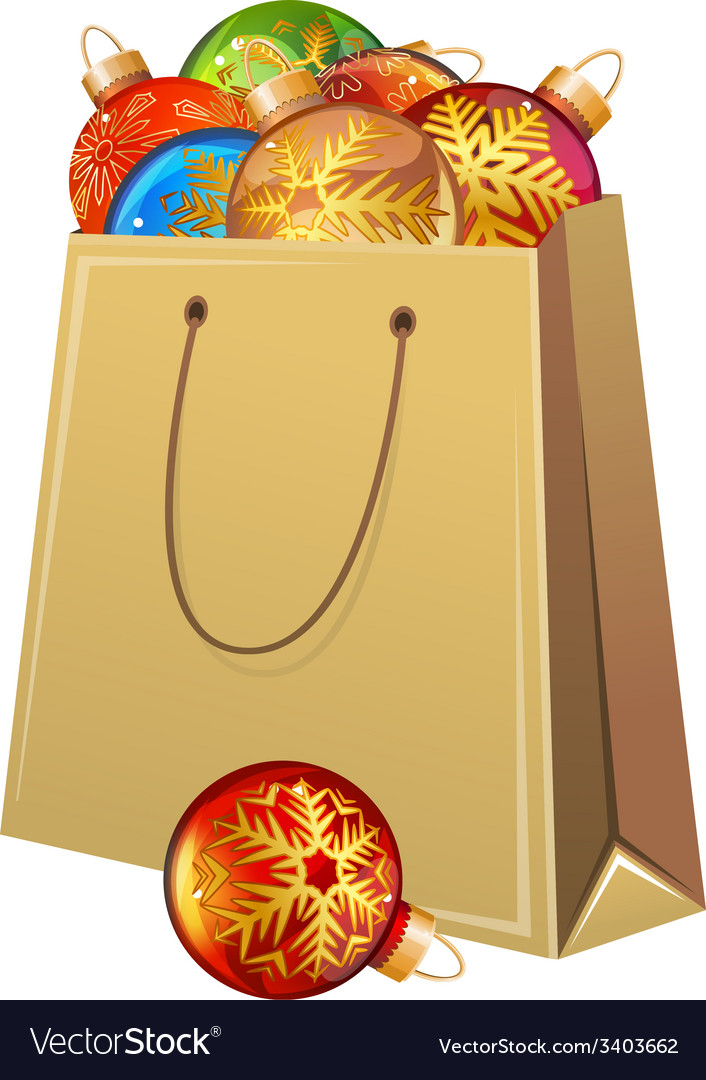 Cardboard packet full of christmas glass balls vector | Price: 1 Credit (USD $1)