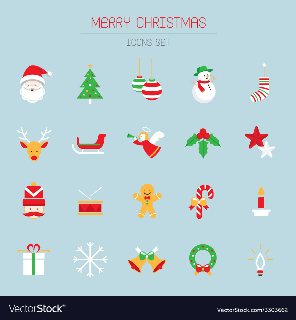 Christmas icons objects vector | Price: 1 Credit (USD $1)
