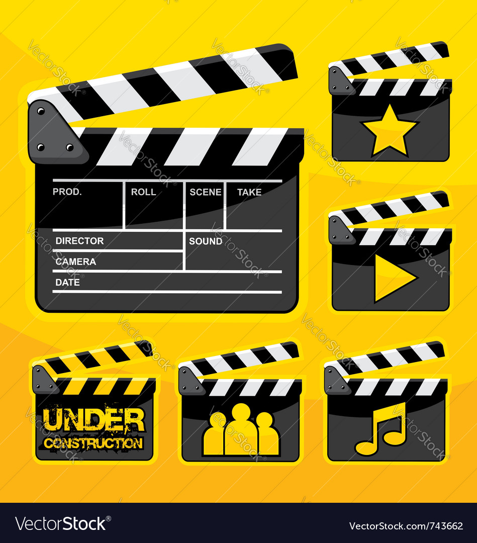 Clapboard icon set vector | Price: 1 Credit (USD $1)