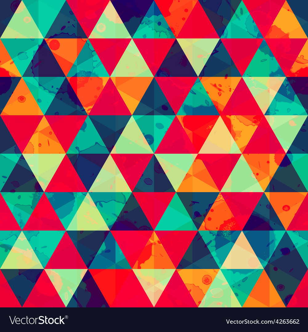 Colored triangle seamless pattern with blot effect vector | Price: 1 Credit (USD $1)