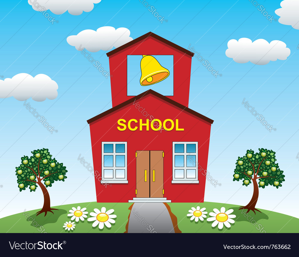 Country school house vector | Price: 1 Credit (USD $1)