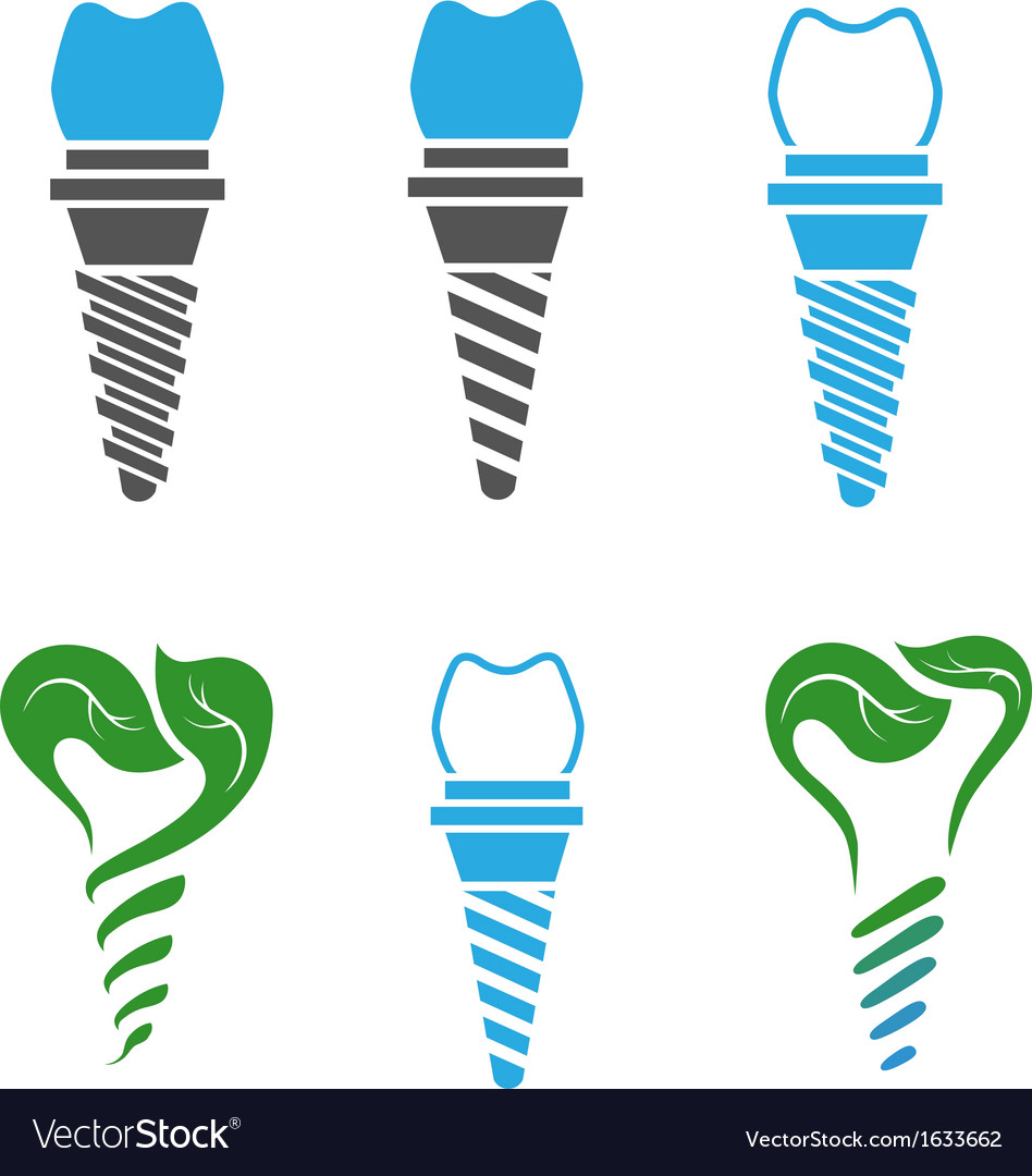 Dental implant symbols vector | Price: 1 Credit (USD $1)