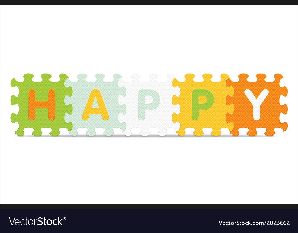 Happy written with alphabet puzzle vector | Price: 1 Credit (USD $1)
