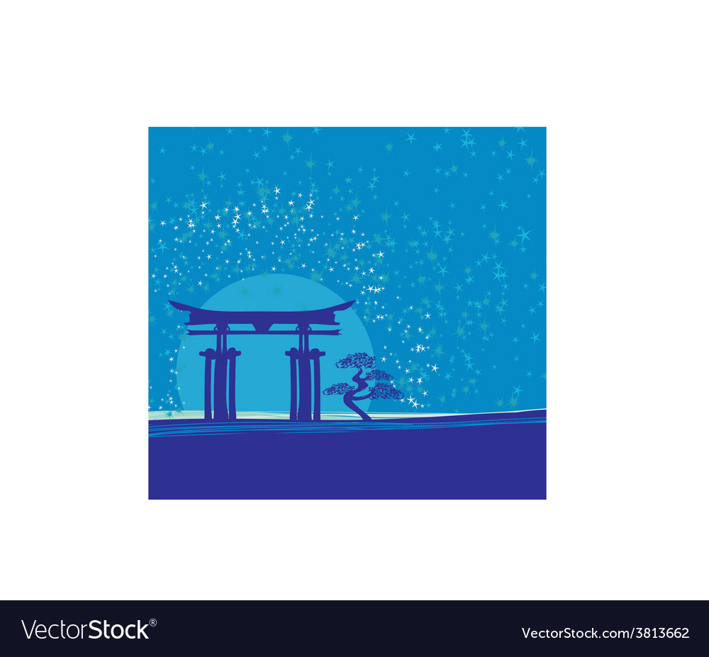 Japan gate in midnight with moon vector | Price: 1 Credit (USD $1)
