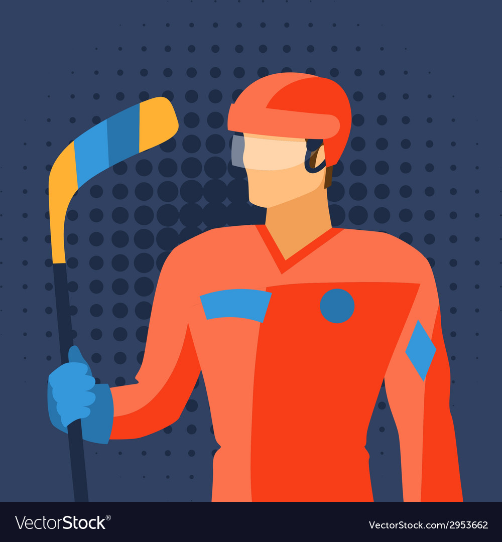 Man in hockey gear stands with stick vector | Price: 1 Credit (USD $1)