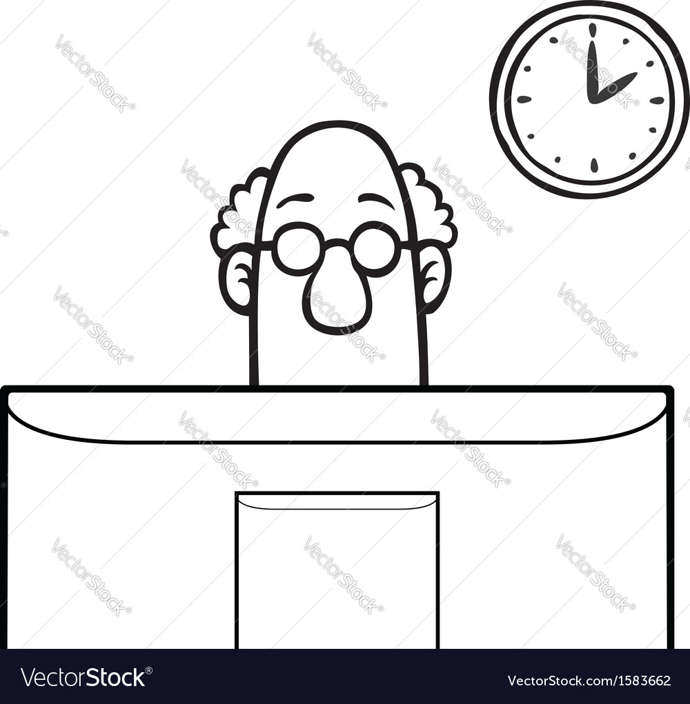 Man looking at computer screen vector | Price: 1 Credit (USD $1)