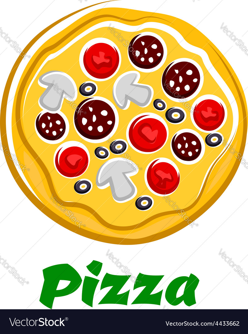 Pizza with sliced salami olives and vegetables vector   Price: 1 Credit (USD $1)