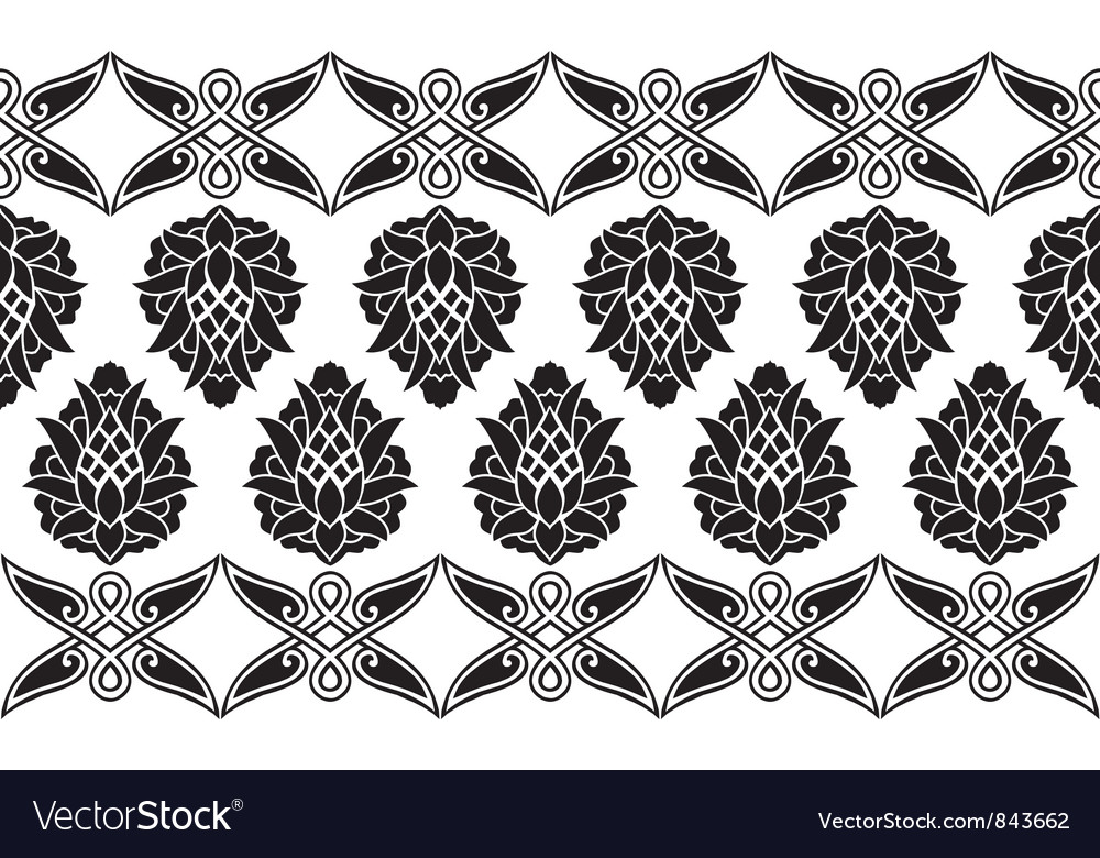Seamless victorian floral border vector | Price: 1 Credit (USD $1)