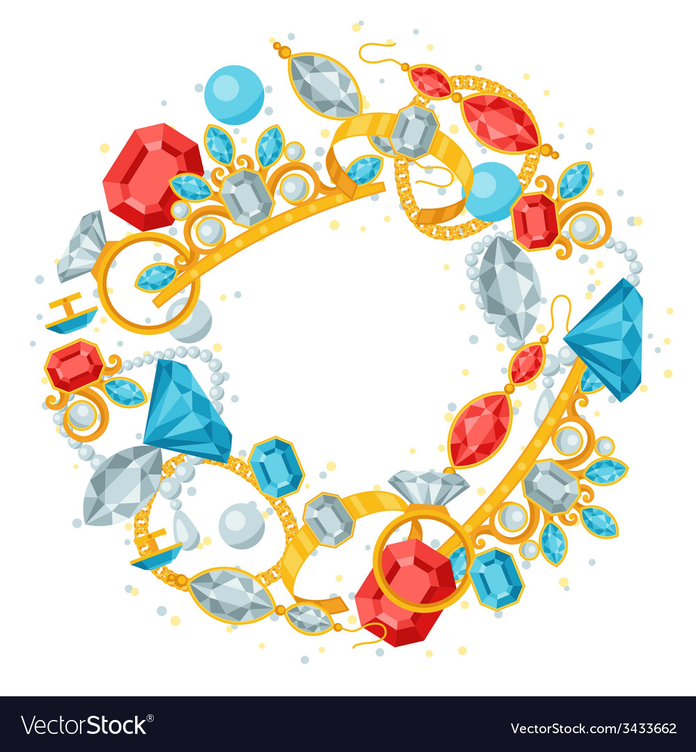Set of beautiful jewelry and precious stones vector | Price: 1 Credit (USD $1)